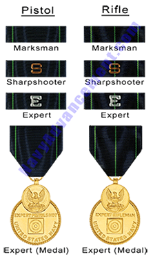 marksmanship medals and ribbons.